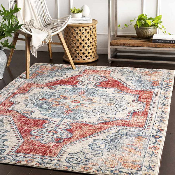 Henry Traditional Bright Red Area Rug