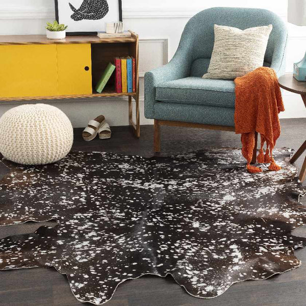 Mere Hide Leather and Fur Black Area Rug