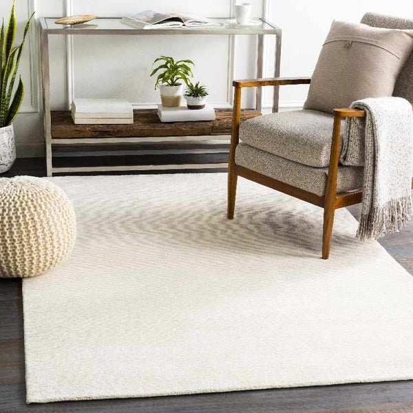 Midhurst Solid and Border Cream Area Rug