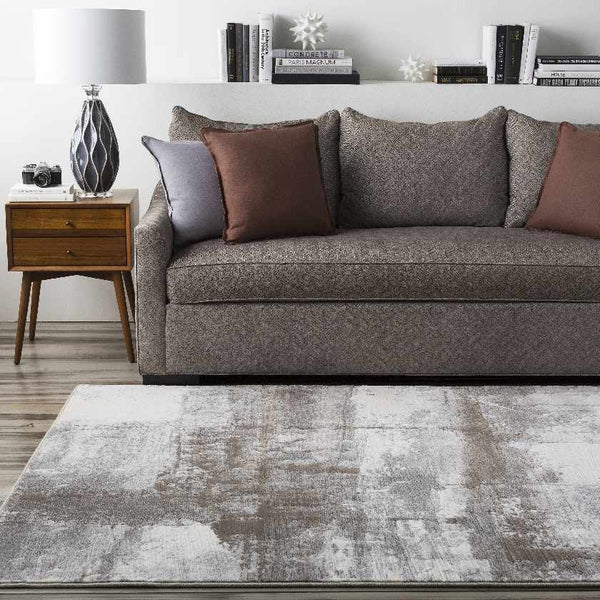 Nobleford Modern Dark Brown Area Rug