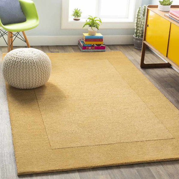 Reims Solid & Border Camel Area Rug