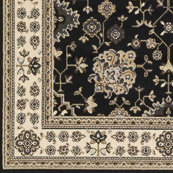 Lac Baker Traditional Black Area Rug