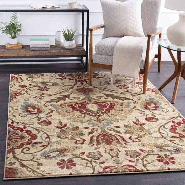 Stavely Transitional Dark Red Area Rug
