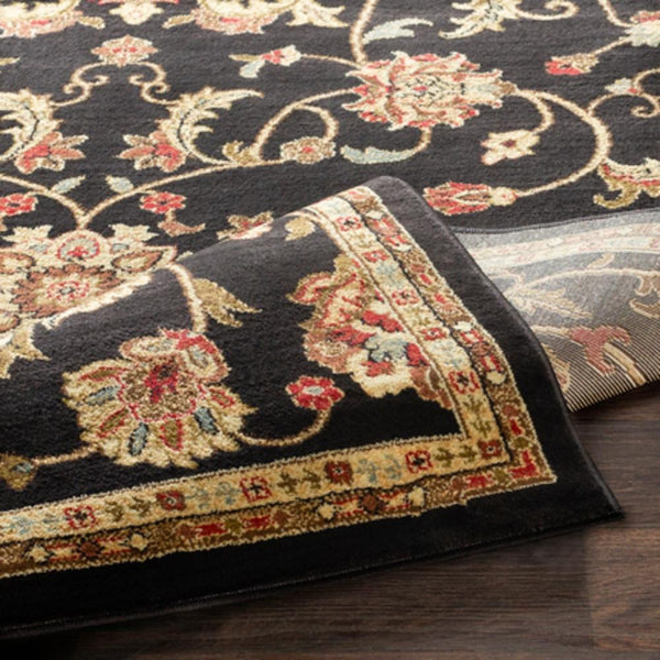 George Traditional Area Rug, Black