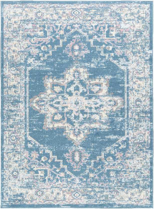Zuidbarge Traditional Bright Blue Area Rug