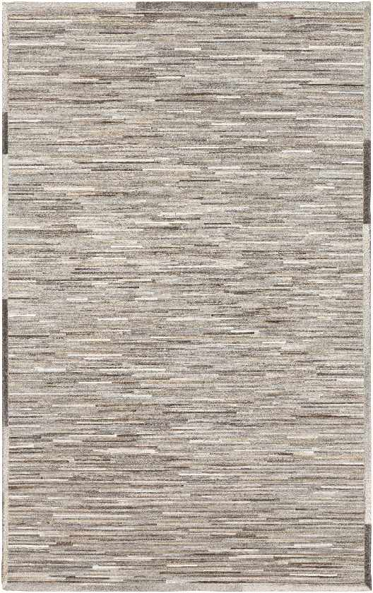 Sassari Hide Leather and Fur Medium Gray Area Rug