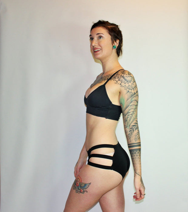 Reversible  Three Strap High Waisted  Bikini Swimsuit Bottoms - Origami Customs
