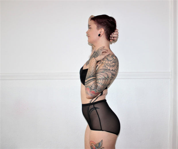 Sheer Mesh High Waist Underwear - Origami Customs