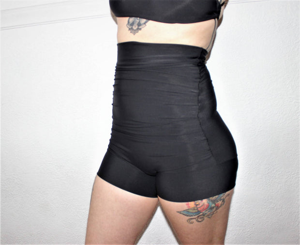 Ruched High Waisted  Swim Shorts - Origami Customs