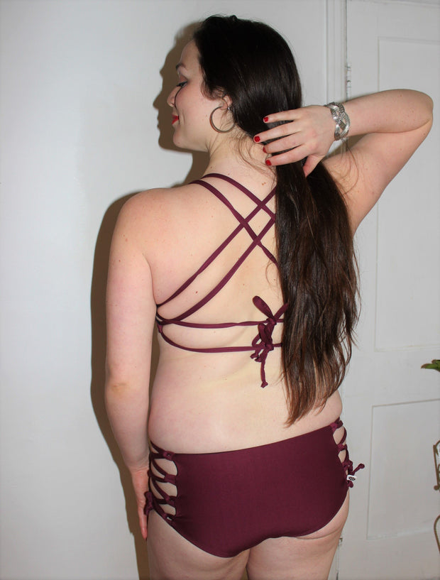 Reversible   Corset Lace-Up Swim Bottoms - origami-customs