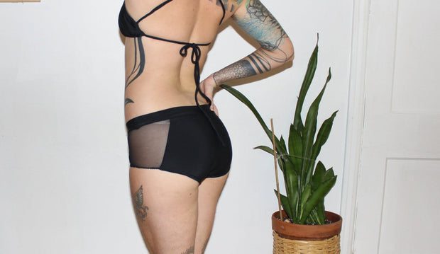 Mesh Side Boyshort Bikini Swimsuit Bottoms - Origami Customs