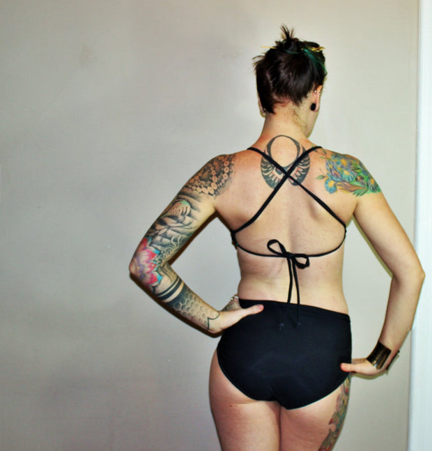 Reversible Ruched Tie X- Back Bikini Top - Origami Customs