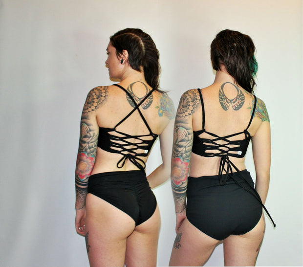 Reversible Corset  Bikini Swimsuit Top - Origami Customs