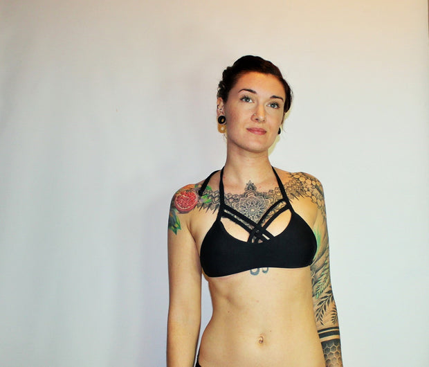 Strappy Cage Halter Bikini Swimsuit Top - Origami Customs