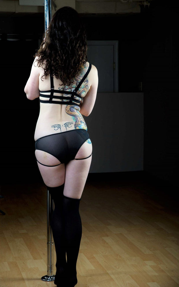 Black Mesh Cheeky Under Bum Strap Underwear - Origami Customs