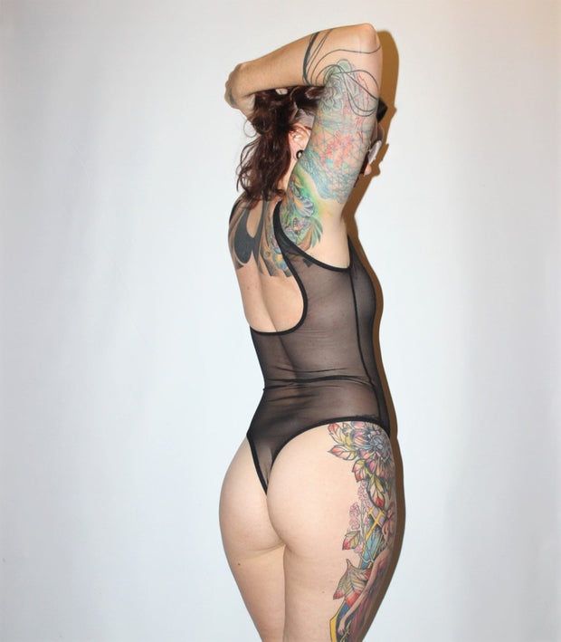 Mesh Thong Back Bodysuit - Origami Customs