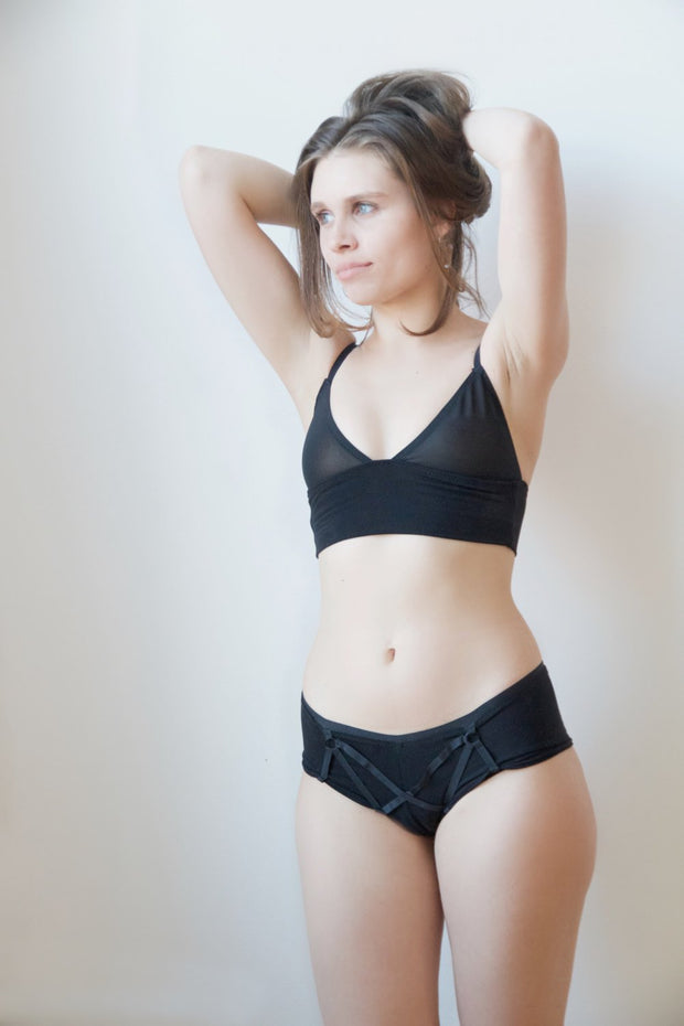 Mesh and Bamboo Longline Bralette - origami-customs