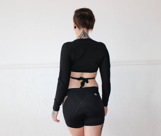 Mesh Panel Roll Waist Shorts - Origami Customs