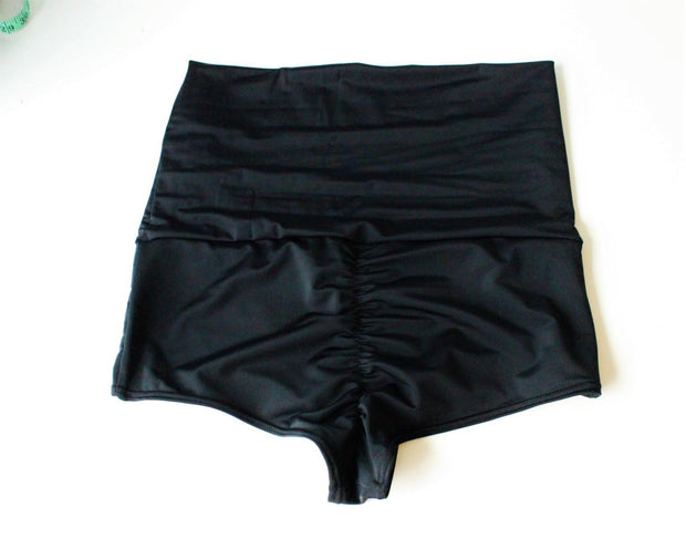 Scrunch Cheeky  Boyshort Roll Down Swim Bottoms - origami-customs