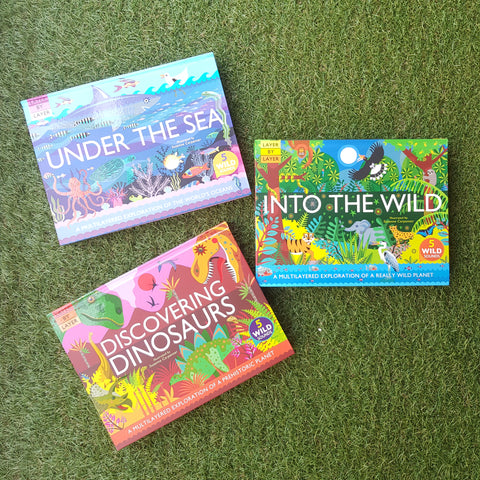 LAYER BY LAYER BOOKS OF 3 BUNDLE : DISCOVERING DINOSAURS, INTO THE WILD & UNDER THE SEA
