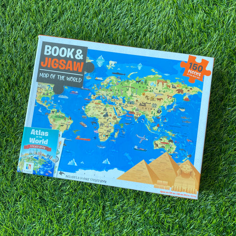 BOOK & JIGSAW: MAP OF THE WORLD