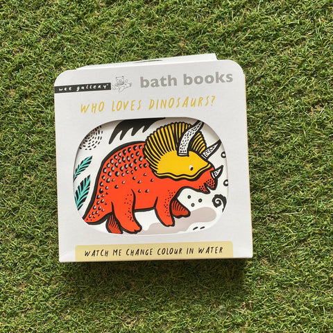 WEE GALLERY BATH BOOK: WHO LOVES DINOSAURS?