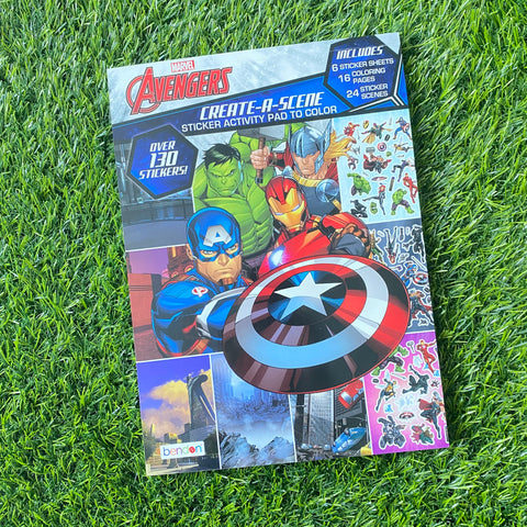 CREATE-A-SCENE STICKER ACTIVITY PAD TO COLOUR: AVENGERS