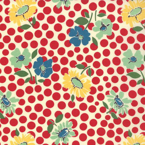 1930s Style Flowers and Spots