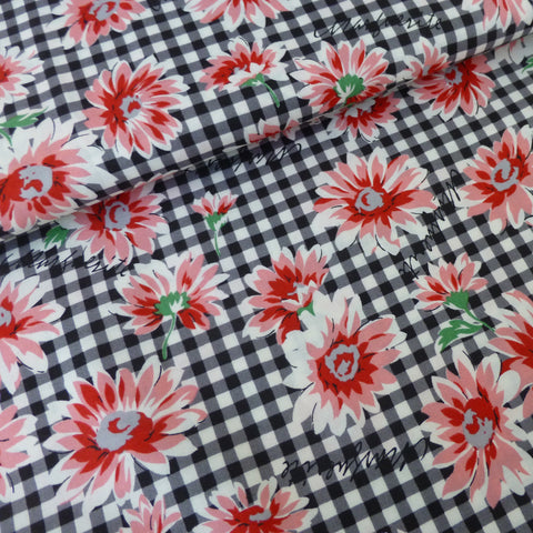 Gingham Flowers - Black