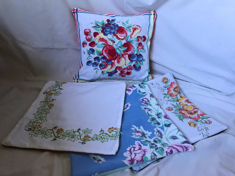 "Upcycled 14"" Linen Pillow Covers with Vintage Tablecloths, Vintage Embroidered Linens"