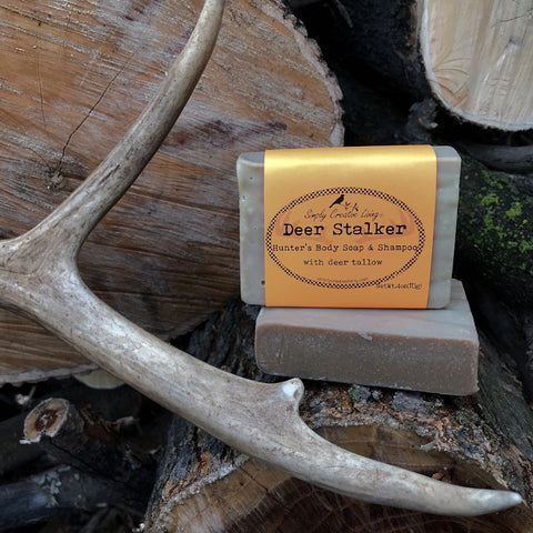 Deer Stalker Hunter's Body Soap and Shampoo Bar with Tallow of a 10 Point Buck