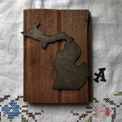 Rusty Metal Michigan Reclaimed Barnwood Plaque