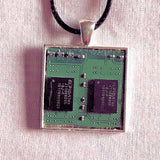 Upcycled Handmade Necklace: Computer Circuit Board Pendant for the Technogeek - Unisex Made from My Old Windows 7 Computer, Old Keyboards