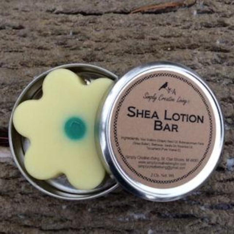 Shea Lotion Bar in Metal Tin - Flower or Round Shape