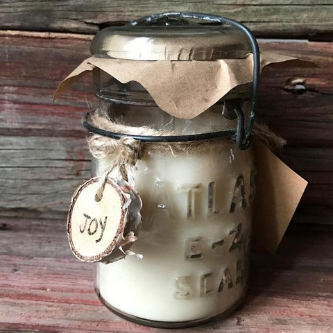 Vintage Mason Jar Candle with Wood Tag