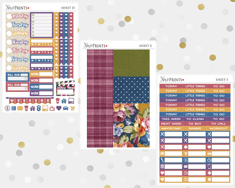 Autumn Blooms Weekly Kit for the Horizontal Erin Condren Planner