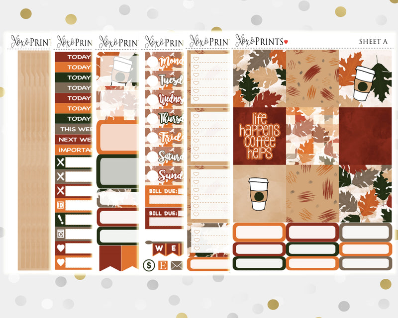 Coffee Weekly Kit for the Horizontal Erin Condren Planner
