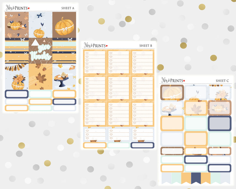 Give Thanks Weekly Kit for the Horizontal Erin Condren Planner