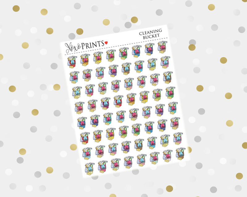 Cleaning Bucket Icon Stickers for the Erin Condren Vertical, Horizontal or Happy Planner