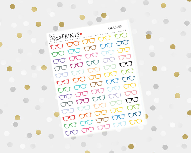 Glasses Icon Stickers for the Erin Condren Vertical, Horizontal or Happy Planner