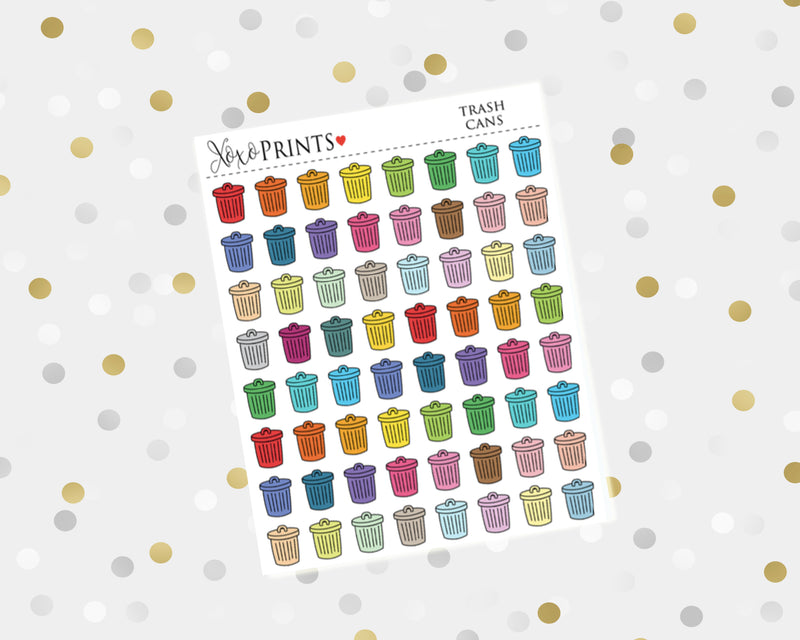 Trash Cans Icon Stickers for the Erin Condren Vertical, Horizontal or Happy Planner