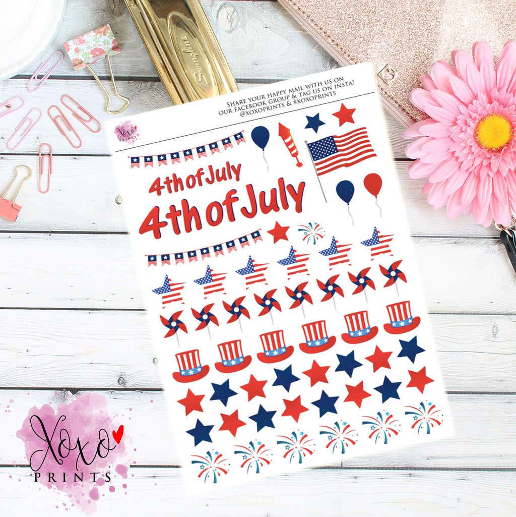 4th of July Deco Stickers for the Erin Condren Vertical, Horizontal, or Happy Planner