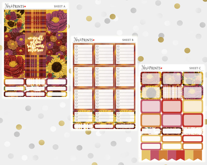 Sunflowers Weekly Kit for the Horizontal Erin Condren Planner