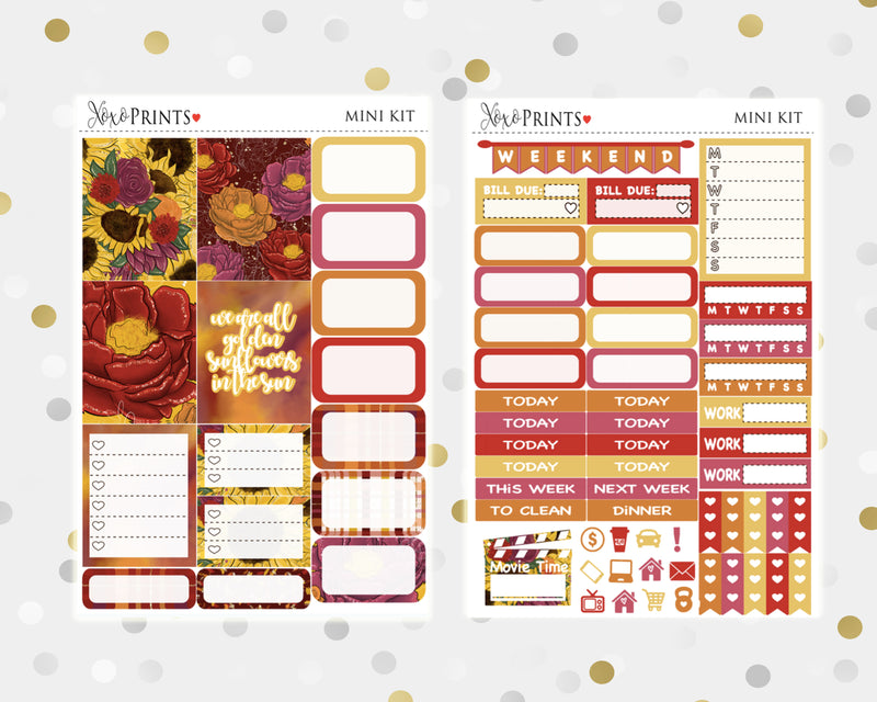 Sunflowers Mini Weekly Kit for your Personal Planner