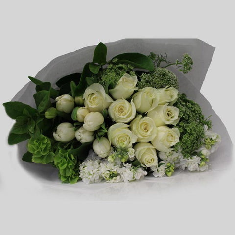Sympathy Bouquet Of Seasonal White Blooms