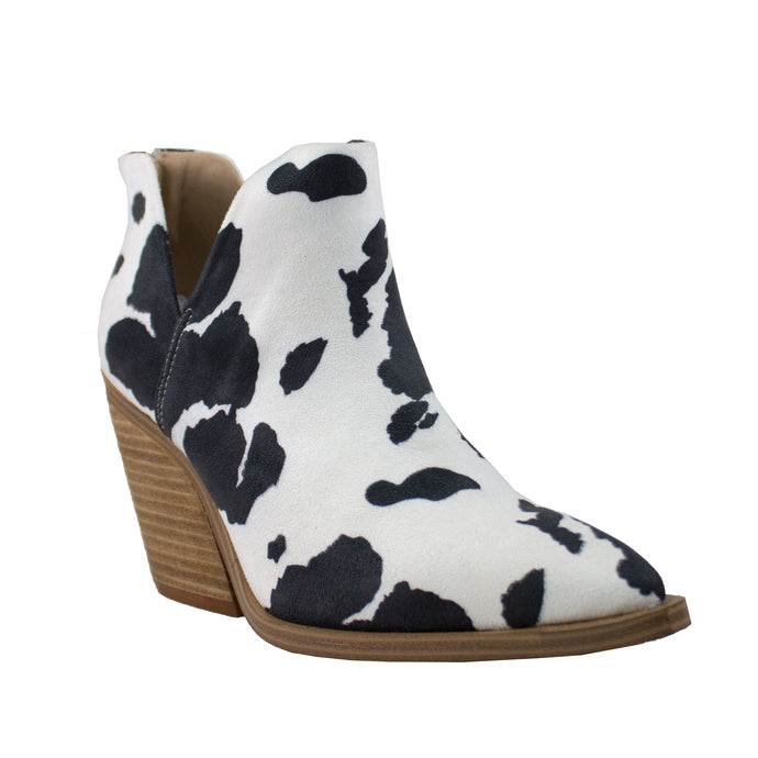 dean black white cow print pu leather ankle boot