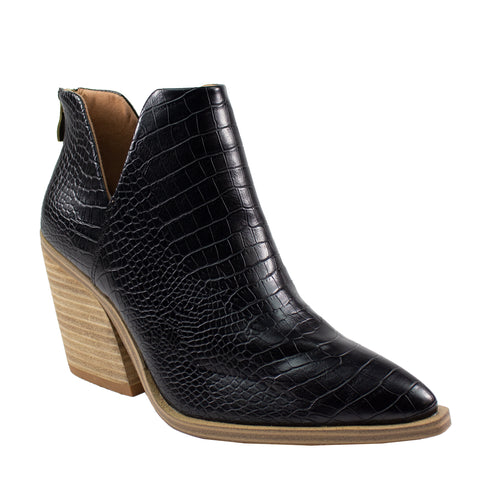 dean black croco print pu leather ankle boot