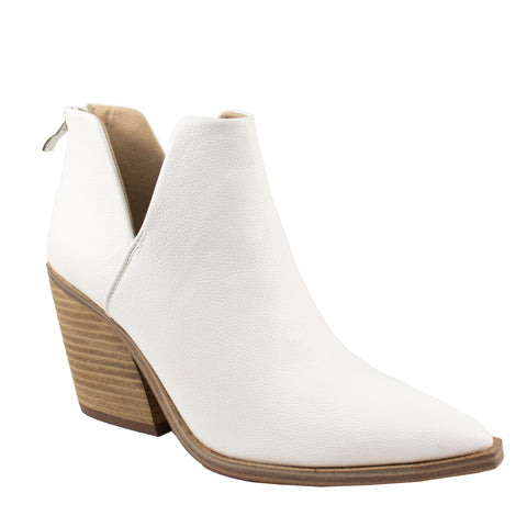 dean white pu leather ankle boot
