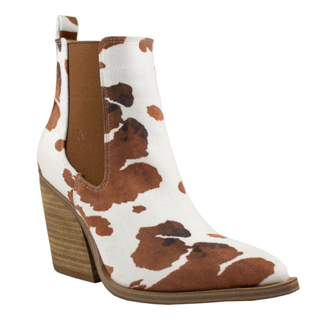 brown cow print ankle boot shoes heels