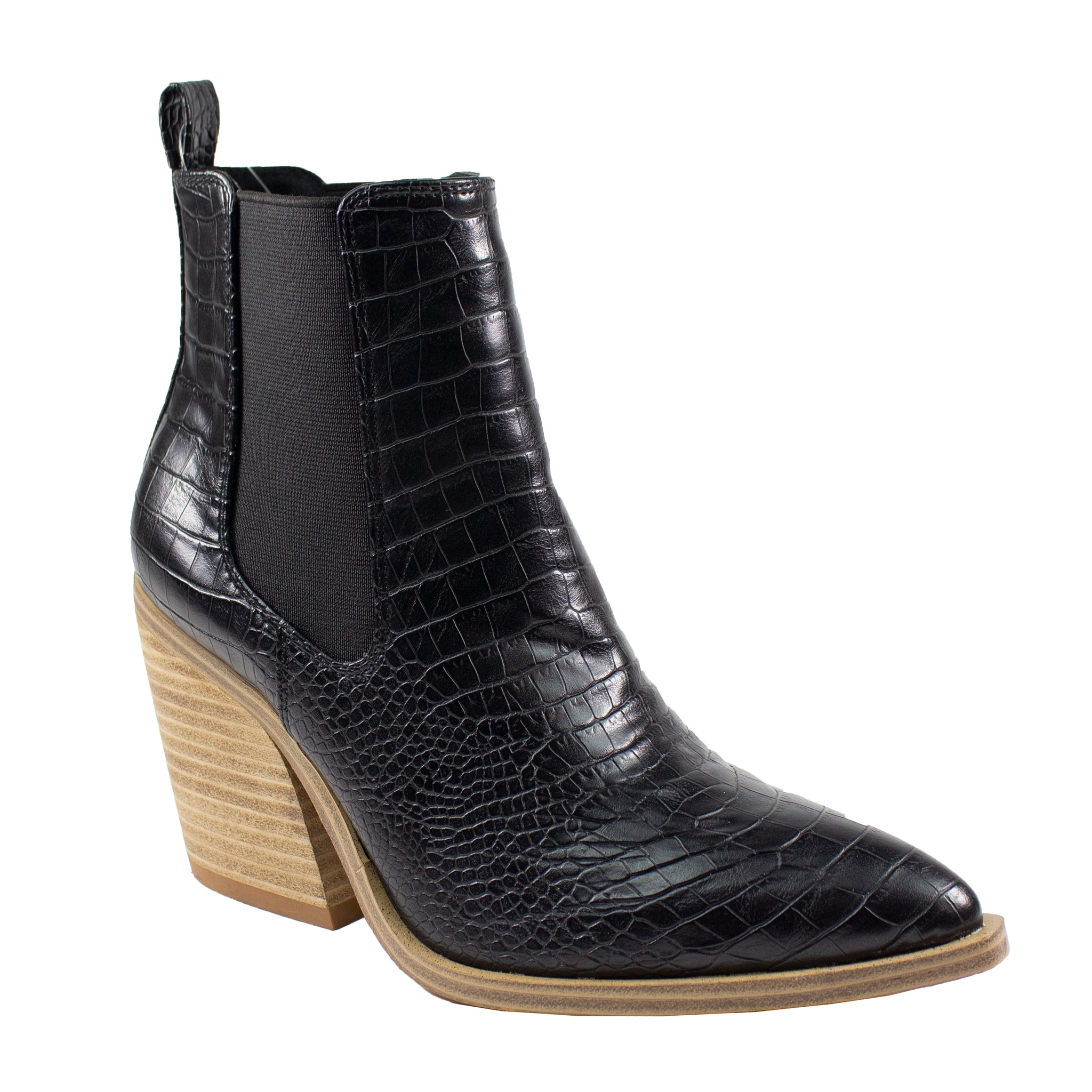 black croco print ankle boots